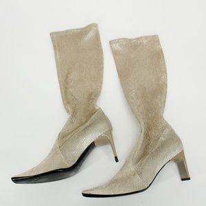 Casadei Cream Snakeskin Tight Boots